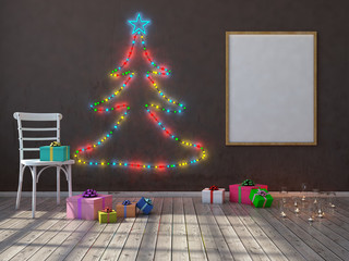 Mock up poster on the wall with christmas tree and christmas decorations. 3d render