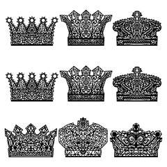 Set of different crowns.