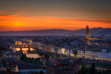 Poster Europa Sunset over Florence, Italy