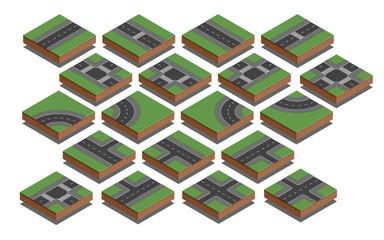 Road elements. City map creation kit. Isometric vector illustratoin.