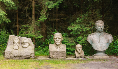 The busts of Marx, Engels, Lenin, Stalin . Grutas Park. Lithuania