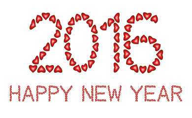 Happy New Year 2016 made from hearts