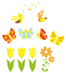 spring cartoon collection with singing birds and flying butterflies
