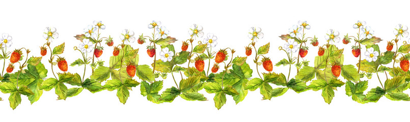 Seamless ribbon border with wild forest strawberry berries - garden fragaria. Aquarelle painted banner line