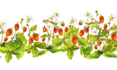Seamless border edging with wild forest berries - strawberry field . Watercolor hand painted ribbon stripe