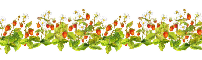 Seamless border with many wild forest strawberries. Watercolour painted banner