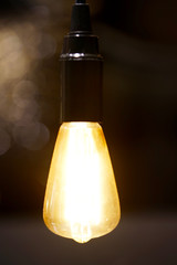 vintage electric bulb with bokeh