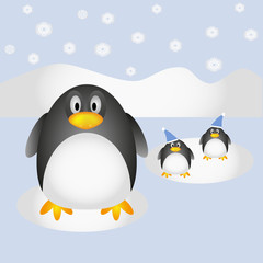 Penguins on winter background
