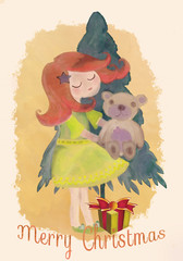 Christmas greeting card with girl, christmas tree and gift.