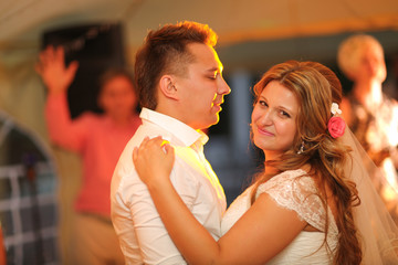 beautiful touching first dance of the bride and groom