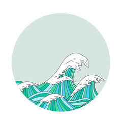 Sea waves hand drawn sketch, japanese style illustration