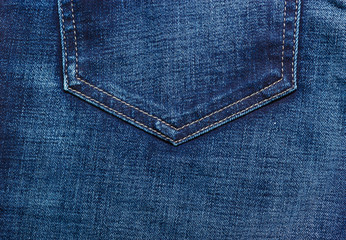 closeup detail of blue denim pocket