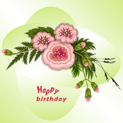 Floral composition. Bouquet of flowers on soft green background. Happy birthday pattern for woman. Greeting card. Vector illustration