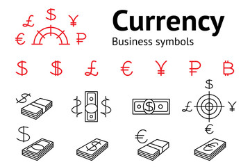 Dollar, Euro, Pound Yen Ruble Bitcoin currency icons set. USD, EUR, JPY  GBP RUB money sign symbols. Finance web buttons. Vector