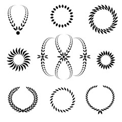 Laurel wreath tattoo set. Black ornaments, signs on white background.  Victory, peace, glory symbol. Vector