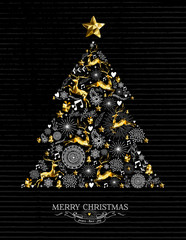 Merry christmas gold tree xmas shilouette reindeer