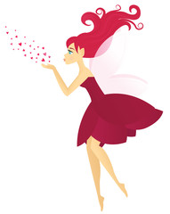 Pink haired fairy blowing hearts