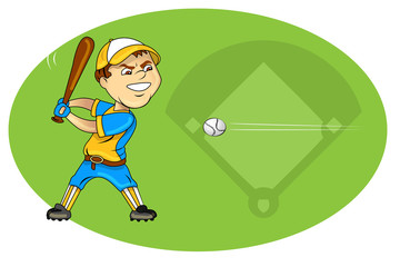cartoon vector illustration of a boy hitting baseball