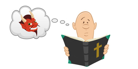 cartoon vector illustration of a man reading Bible