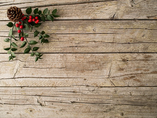 Christmas ornament on wooden background