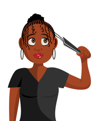 cartoon vector illustration of a lady plaiting hair