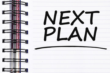 next plan words on spring white note book