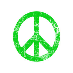 illustration vector green grunge ellipse peace sign symbol isolated on white