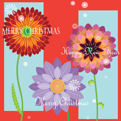 New Year card colorful flower pattern vector graphics, sophisticated style.