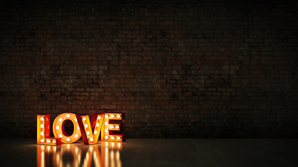 marquee light love letter sign, render 3D Wall mural
