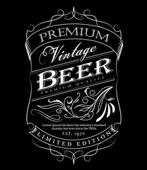 Beer label western hand drawn frame blackboard typography border