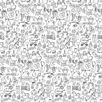 Seamless hand drawn doodle baby pattern