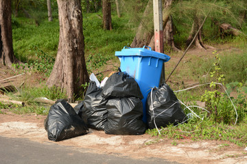 Piles of garbage bags