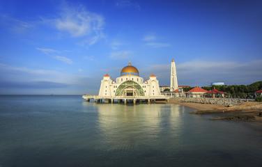 Malacca Straits Mosque ( Masjid Selat Melaka) in Malaysia