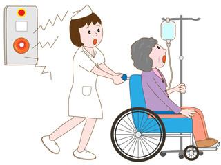 火災報知器が鳴り避難する入院患者