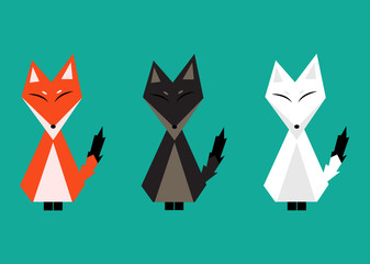 Red Fox, Arctic Fox, Brown Fox. Full Body Vector Illustration