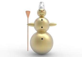 Добрый золотой снеговик на белом фоне