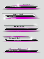 Set of violet,  black, gray banners of lower third. Vector illustration.