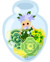 Mini garden and cute little people in the mini bottle.