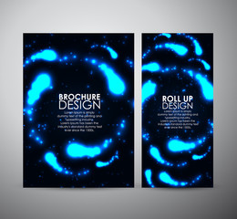 Brochure business design template or roll up. Abstract blue digital flare frame.
