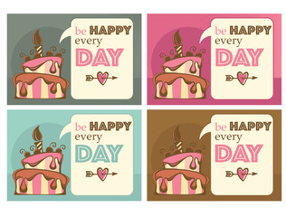 greeting cards and tags, with image of birthday cakes, candle an
