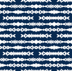 White Ethnic Brush Strokes Arrows Pattern