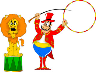 mustachioed tamer and lion