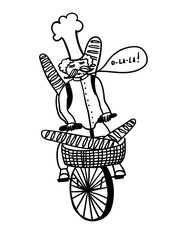French chef rides a bicycle and carries fresh baguettes, comic outline vector illustration