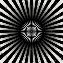 Geometric optical illusion black and white circle with rays isolated on a white background. Vector illustration
