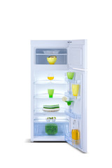 Open Refrigerator with fresh food Isolated on white.