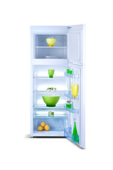 Refrigerator open with fresh food. Isolated on white.
