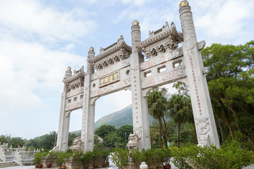 Side view of the Mountain Gate at the Po Lin Monastery on Lantau Island in Hong Kong, China.
