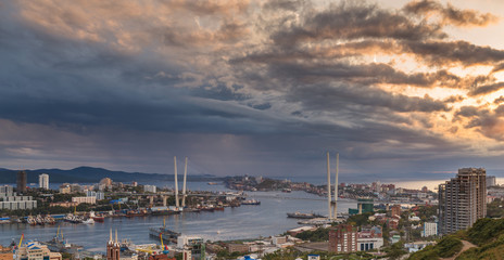 Vladivostok cityscape, sunset view.