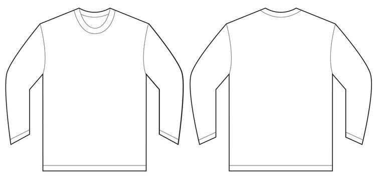 White Long Sleeve T-Shirt Design Template