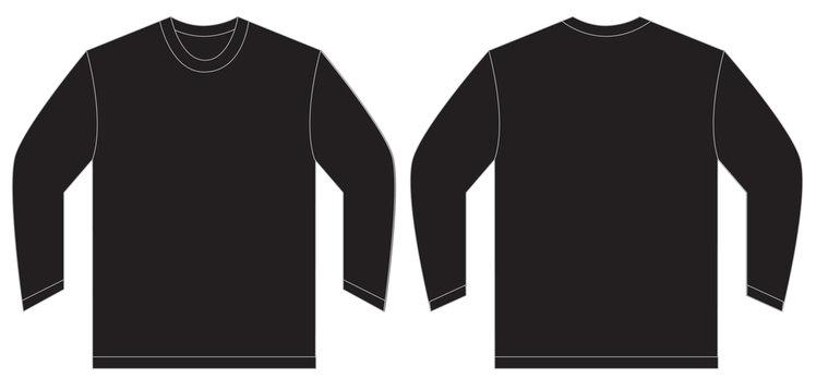 Black Long Sleeve T-Shirt Design Template